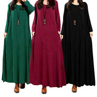 Muslim Vintage Abaya Women Casual Loose Long Sleeve Boho Long Maxi Dress Gown