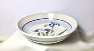 "STUDIO POTTERY Stoneware SERVING BOWL IRIS BEIGE BLUE  7-1/2"" Signed by Artist"