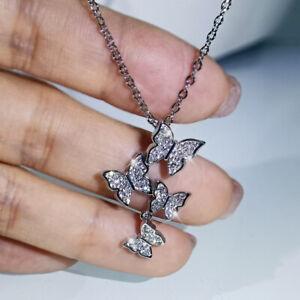Cute Butterfly Women Jewelry 925 Silver Necklace Pendant Cubic Zirconia Jewelry