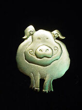 """JJ"" Jonette Jewelry Matte Gold Pewter 'SMILING Pig' Pin"