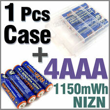 1 x Holder Case Box + 4 AAA NiZN 1150mWh 1.6V rechargeable battery Ultra Blue
