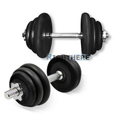 FITNESS 40KG  RUBBER COATED DUMBBELL SET 88LBS ADJUSTABLE WEIGHTS CHROMED BAR