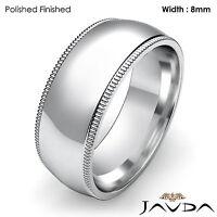 Women Wedding Band Dome Milgrain Solid Ring 8mm 14k White Gold 9.1gm Sz 4 - 4.75