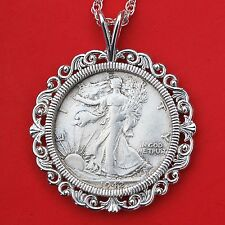 US 1942 Walking Liberty Silver AU Coin Solid 925 Sterling Silver Necklace NEW