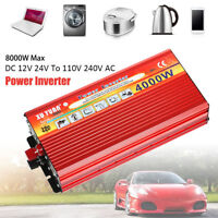 4000W 8000W Peak Car Power Inverter Charger Converter Laptop TV 12V to 220V/240V