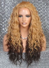 HEAT OK Lace Front wig Two tone Blonde Brown mix Curly Wavy NBH 834A