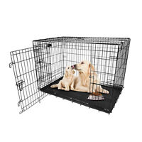 "Pet Cat Dog Folding Steel Crate Playpen w/Tray Metal Cage 48"" 42"" 36"" 30"" 24"" 18"