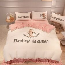 Cute Bear Velvet Flannel Fleece Bedding Set Duvet Cover Bed Linen Fitted Sheet
