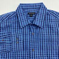 George Button Up Shirt Men's Size Large 16.5 Long Sleeve Blue Navy Plaid Cotton