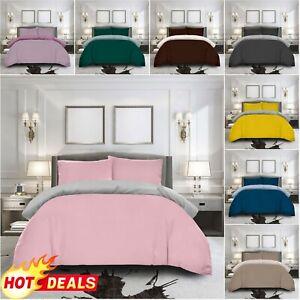 KIDS BED SET Plain Dyed Duvet Cover Pillowcase Reversible Quilt Double Bedding