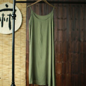 Women Thin Full Slip Strappy Cotton Under Dress Petticoat Underskirt Chemise