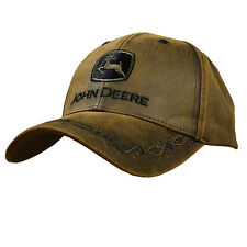 John Deere Oilskin Trademark Hat New, Brown Cap w/Barbed Wire- Top Seller!
