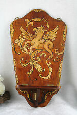 Vintage 70's French gothic Dragon Wall shelf console wood