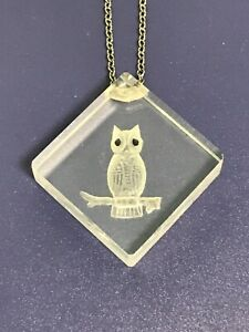 Vintage Owl nerd chunky long necklace-SALE CLEARANCE