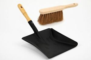 Metal Coal Shovel and Smoothed Wooden Handle Supplied with Soft Coco Hand Brush