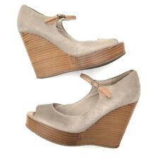 Esprit Womens Shimmer Faux Suede Wedge Platform Shoes Ankle Strap Peep Toe UK 5