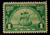US Stamps, Scott #614 1c Huguenot-Walloon 1924 XF/Superb M/NH. Large Margins!