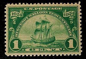 US Stamps, Scott #614 1c Huguenot-Walloon 1924 XF/Superb M/NH. Large Margins!