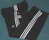 NWT Adidas Boys L Black/White 3 Stripe Embroidered Logo Sweat Pants Large 14-16