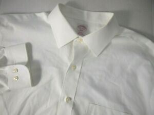 Brooks Brothers 346 Mens Dress Shirt 17 1/2 34/35 Solid White Career Workwear