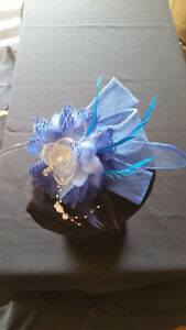 Fascinator -  Blue sinamay with flower, feathers and beads mounted a clip &pin