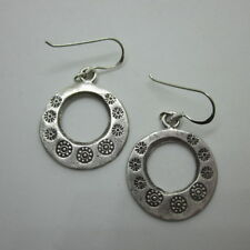 Handcrafted Earrings Hill Tribe Fine Pure Silver Dangle Round Regional Tribal