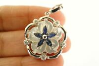 Mother of Pearl Blue Sapphire Flower Natural Diamond 925 Sterling Silver Pendant