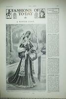 1904 Moda Estampado Artículo Invierno Abrigo Gris Mousseine Velvet Veneciana Con