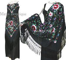Dress Gown Silk Embroidered Flapper Style Black Multi Maya Matazaro L