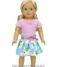 Flower Pleated Skirt +Lavender Top 18 in Doll Clothes Fits American Girl
