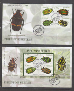 Philippine Stamps 2010 Beetles found in the Philippines, Complete set on FDC