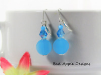 AQUA BLUE Czech Glass & Crystal .925 STERLING SILVER Leverback Earrings