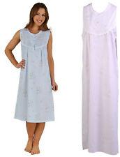 Night Dress Womens Floral Seersucker Sleeveless Slenderella Lace Trim Nighty