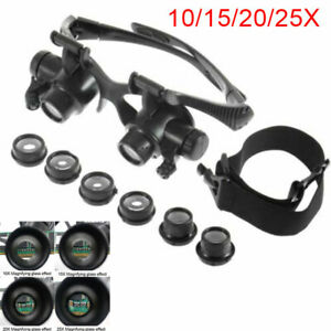 25X Magnifier Magnifying Eye Glass Loupe Jeweler Watch Repair With LED Light New