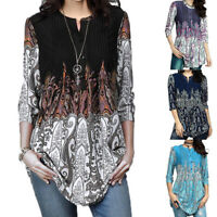 Women Casual 3/4 Sleeve Crew Neck Floral Tunic Tops Loose Blouse Button Up Shirt