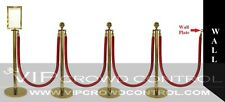 "Rope Stanchion, 10 Pcs Deluxe Set, Crown Top, Gold Polish S.S. 12"" Flat Base"