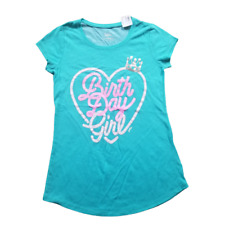 Justice Girls Birthday Sprinkles Tiara T-Shirt Top Aqua Teal NWT, Size 12