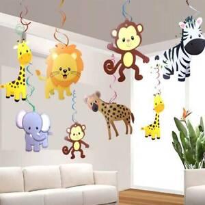 30PCS/SET Safari Animal Jungle Ceiling Hanging Swirl Decorations Baby Shower l