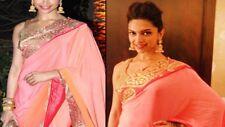 UK Deepika Padukone Bollywood Replica Designer Indian Embroidery Wedding Sari