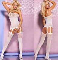 Ladies Sex y Opaque Suspender Bodystocking -Catsuit Crotchless Playsuit Lingerie