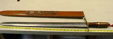 """Vintage Hand Forged 33"""" Philippines Tribal Sword with Carved Wood Sheath HEAVY"""