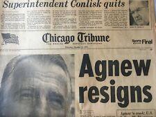 "Chicago Tribune, Thursday, October 11, 1973 Sports Final ""Agnew Resigns"""