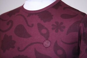Pretty Green Paisley Print All Over Crew Neck T-Shirt - XS/S - Burgundy Red Top