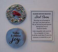 k 1x Today I choose joy BLESSED BEYOND MEASURE red Bird Pocket Token Charm ganz