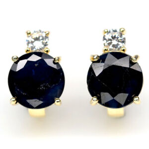 NATURAL 9 mm. BLUE SAPPHIRE & WHITE CZ 925 STERLING SILVER EARRINGS