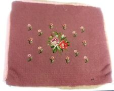 Vintage Needlepoint Panel Roses Rose Buds Dusty Pink 14x16