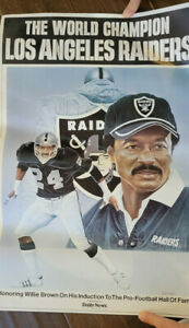 1984 LOS ANGELES RAIDERS WORLD CHAMPIONS WILLIE BROWN HALL OF FAME POSTER SGA
