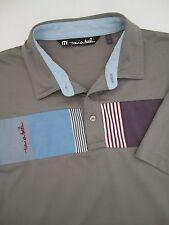Mens L large Travis Mathew pima cotton polyester gray golf polo shirt