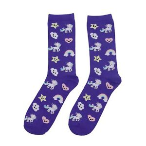 Kawaii Socks Cute Purple Rainbow Unicorn Cartoon Anime Japan Women's Crew Socks
