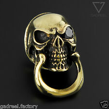Solid Brass Skull Connector Joint Wallet Key Chain Ring Rope Leather Hook Link